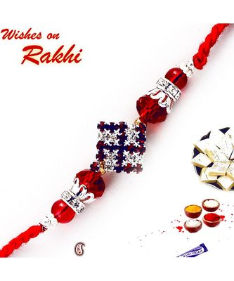 Red Stones Swastika Rakhi With Red Crystal Beads