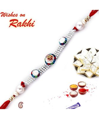 Multicolor Crystal Beads And Chain Om Rakhi With Pearls