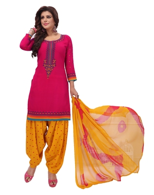 Pink & Yellow Printed Women's Unstitched Salwar Suits dress material with Dupatta