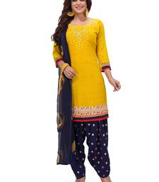 Mustard Yellow & Blue Printed Women's Unstitched Salwar Suits dress material with Dupatta