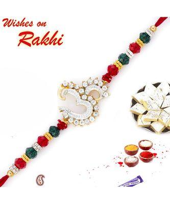 Green & Red Crystal Beads OM Motif Rakhi