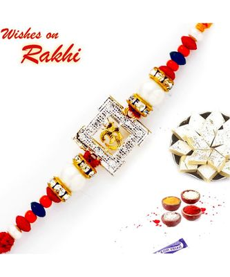 Colorful Beads & AD Studded OM Rakhi