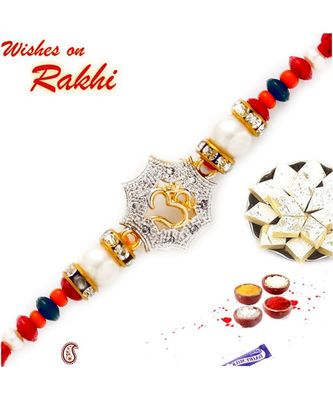 Colorful Rakhi with OM on AD Studded Poygon
