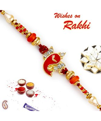 Orange & Golden Beads Ganesha Motif Rakhi