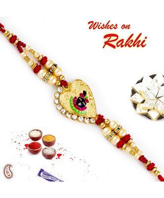 Red & Gold Beads Shree Ji Motif Rakhi