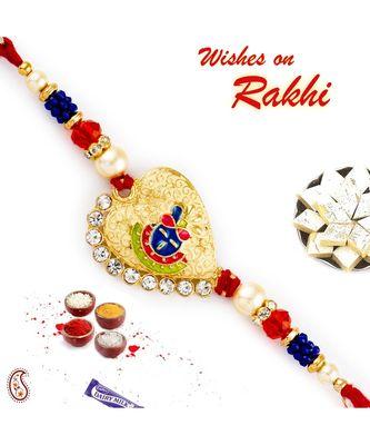 Blue & Orange Beads Shree Ji Motif Rakhi