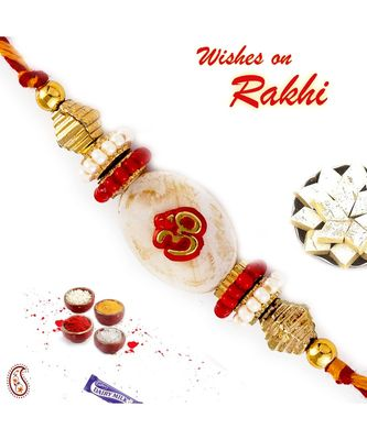 Golden Beads Studded OM Motif Rakhi