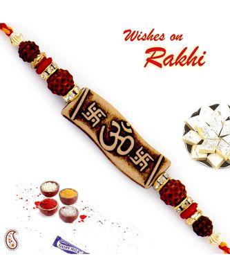 Rudraksh Studded Swastik & Om Motif Rakhi