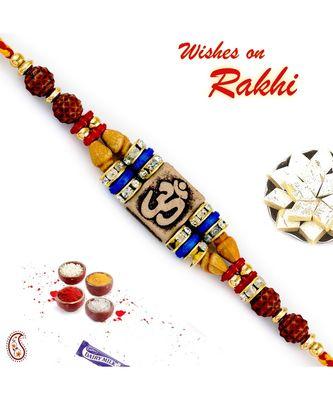 Quadra Rudraksh Studded Om Motif Rakhi