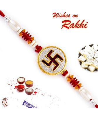 White Cylindrical Beads Studded Swastik Motif Rakhi