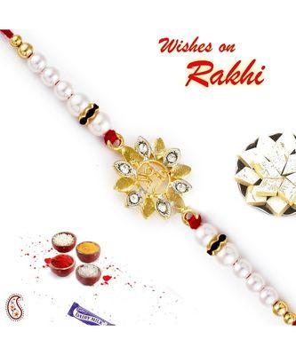 White Beads & Floral Base Shree Motif Rakhi