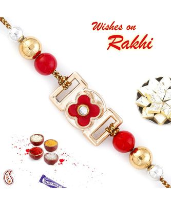 Beautiful Red Floral Motif with Golden Base Rakhi
