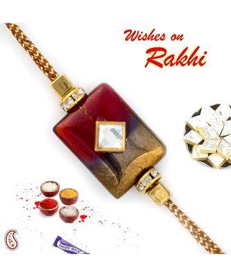 Red & Gold Rectangular Motif Rakhi