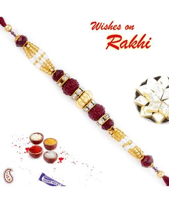 Golden & Magenta Beads Studded Beautiful Rakhi