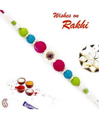 Brilliant Tri Color Beads Studded Rakhi