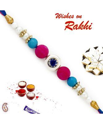 Pink, Blue & White Beads Studded Elegant Rakhi