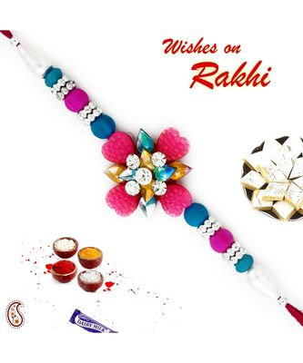 Blue & Pink Beads Studded Floral Shape Rakhi
