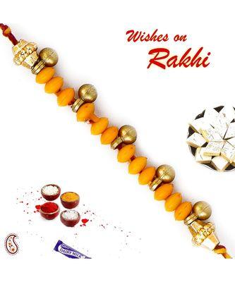 Yellow Beads Rakhi With Sweet Little Bells
