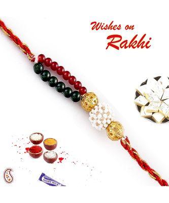 Red, Green, White, Golden Beads Rakhi