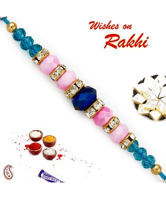 Pink & Blue Crystal Beads Studded Beautiful Rakhi