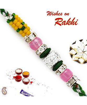 Yellow, Green & Pink Beads Studded Charming Rakhi