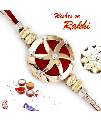 Gold Star Motif Red Base Rakhi