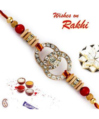 Ad Studded Red & Brown Beads Rakhi