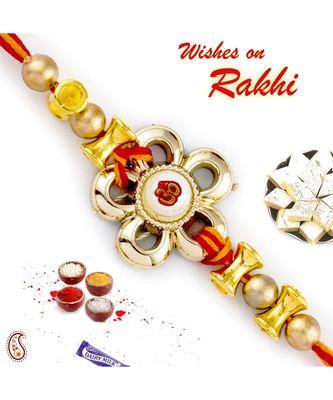 Damroo Style Beads Embellished Floral Motif Rakhi