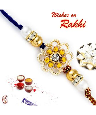 Yellow Beads & Ad Embellished Floral Motif Rakhi