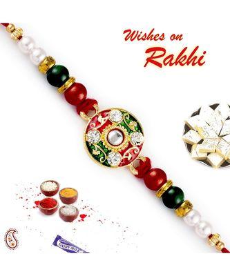 Multicolor Beads Embellished Meenakari Rakhi