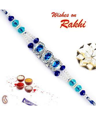 Light & Dark Blue Crystal Stones Rakhi