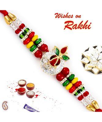 Multicolor Beads & AD Embellished Leaf Motif Rakhi