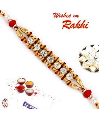 AD & Brown Beads Studded Dual String Rakhi