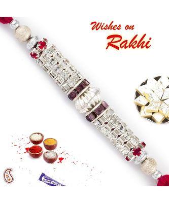 AD Cluster & Crystal Stone Embellished Rakhi
