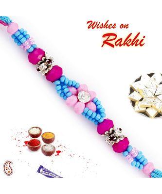 Pink & Blue Beads Embellished Floral Motif Rakhi