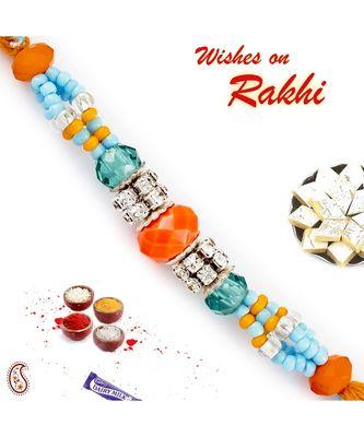 Orange & Blue Crystal Beads Embellished Rakhi