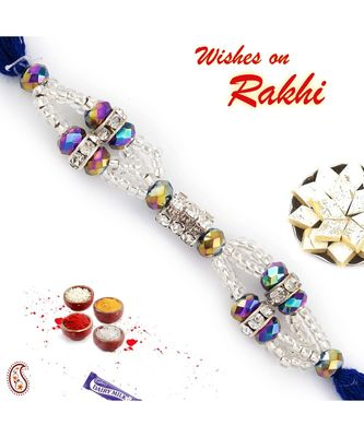 Crystal Clear Beads Embellished Rakhi