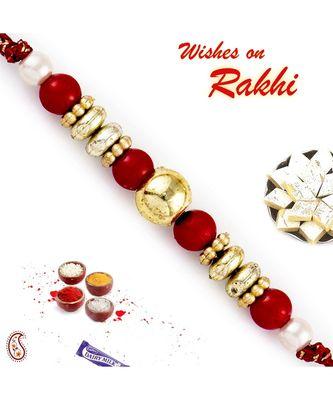 Red & Golden Solid Round Beads Rakhi