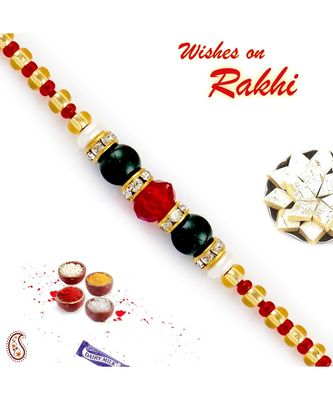 Crystal Red & Solid Green Beads Embellished Rakhi