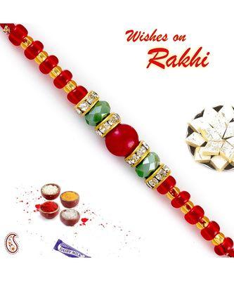 Solid Red & Crystal Green Beads Embellished Rakhi