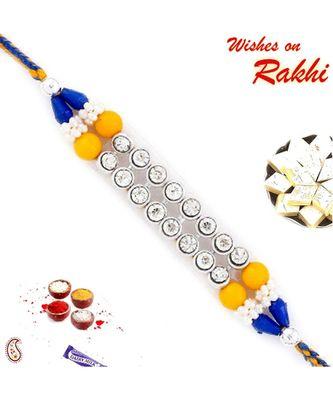 Yellow & Blue Beads & AD Studded Fancy Rakhi