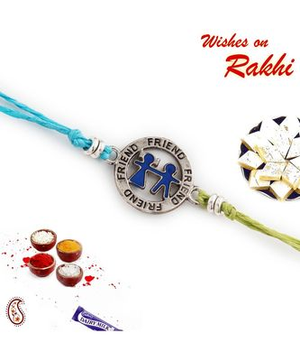 Metallic Friend Motif Rakhi for Bhai In Blue