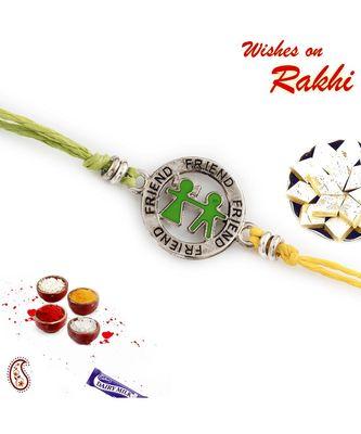 Metallic Friend Motif Rakhi for Bhai In Green