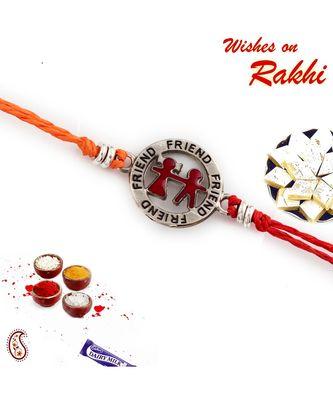 Metallic Friend Motif Rakhi For Bhai In Red