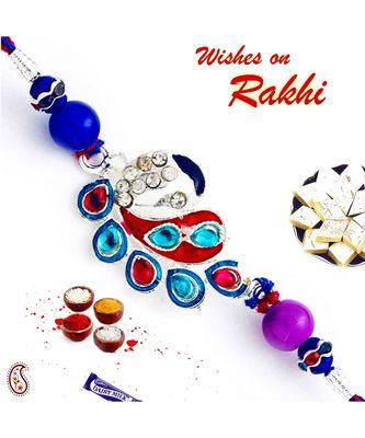 Blue & Red Crystal Stone Studded Designer Rakhi