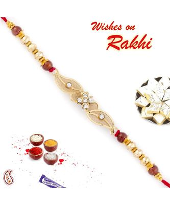 Beautiful Floral Style Rakhi With Net Base
