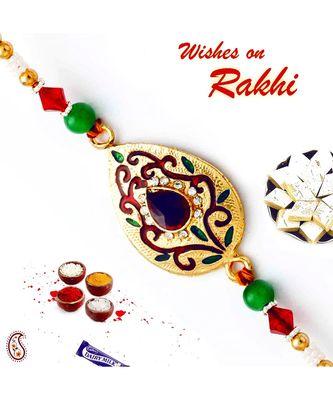 Golden Base & AD Studded Designer Rakhi