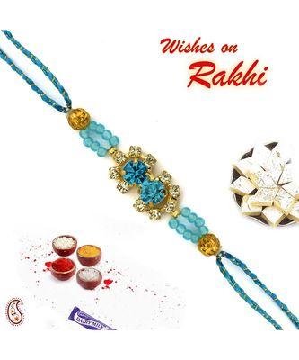 Crsytal Blue Beads Studded Pretty Rakhi