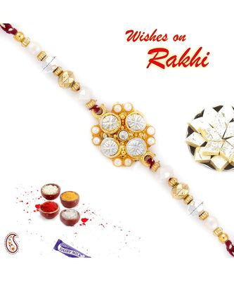 White & Golden Beads Floral Pattern Rakhi