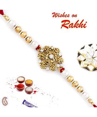 Gorgeous Floral Shape Beads Embellished Rakhi
